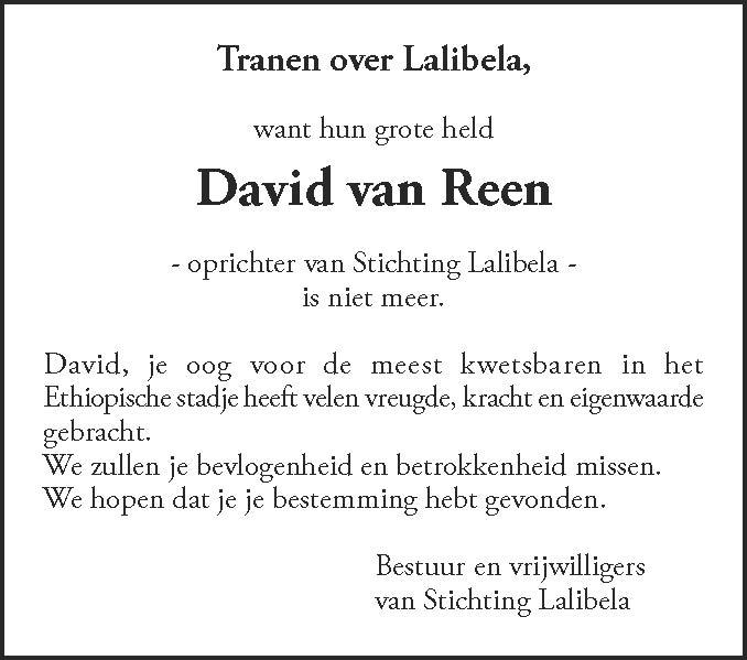 overlijden David van Reen Stichting Lalibela